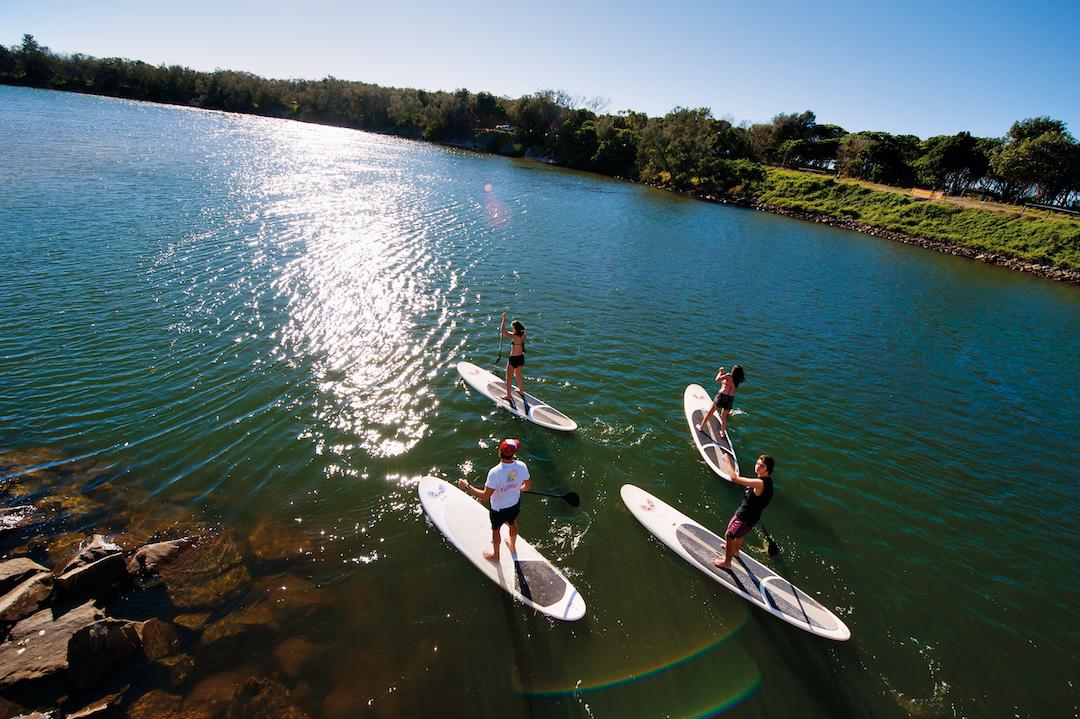 Standup paddle boarding on Cudgen Creek, Kingscliff